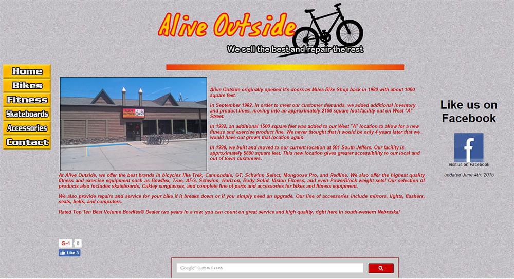 Old AliveOutside.com website