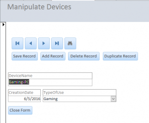 Device manipulation form