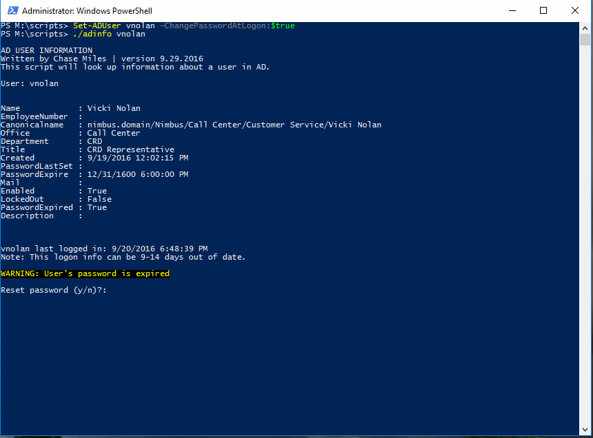 Powershell - Set expired command